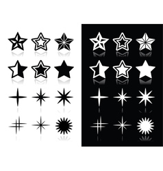 Stars icons with shadow on black and white backgro vector