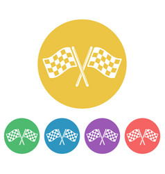 start flags set colored round icons vector image