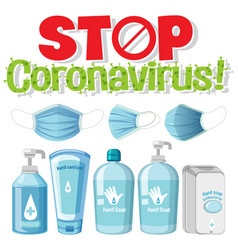 stop coronavirus logo with sanitizer products vector image