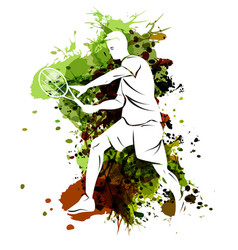 Tennis player on watercolor background vector