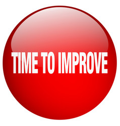 Time to improve red round gel isolated push button vector