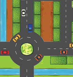 Top view of street and roundabout vector