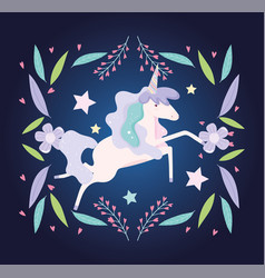 unicorn flowers leaves stars decoration fantasy vector image