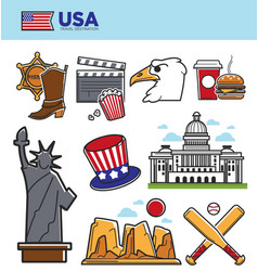 Usa america travel landmarks symbols and american vector
