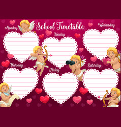 valentines day school timetable with cherub vector image