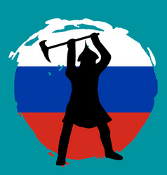 warrior silhouette on russia flag background vector image