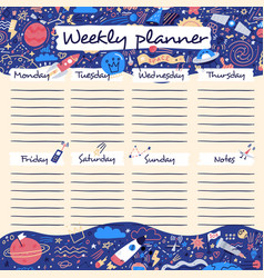 Weekly planner with funny outer space and funny vector