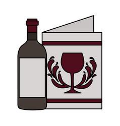 wine bottle restaurant menu beverages vector image