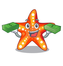 With money bag starfish isolated with in the vector
