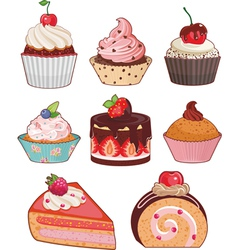 appetizing cakes vector image vector image