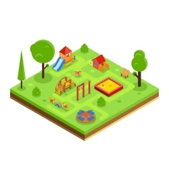 Childrens playground in isometric flat style vector