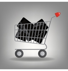 supermarket shopping cart with tablet ic vector image vector image