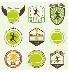 various stylized tennis icons vector image