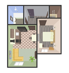 architectural color floor plan bedrooms apartment vector image
