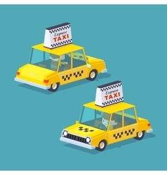 Cube world yellow taxi vector