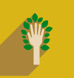 Flat web icon with long shadow leaves hand vector