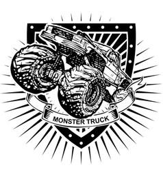 Monster truck shield vector