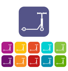 scooter icons set flat vector image vector image