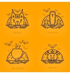 Happy halloween concept icons in line style with vector image