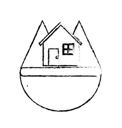 Line nice house in the forest witn mountains vector