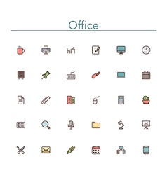 Office Colored Line Icons vector image