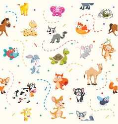 pattern of cartoon animals vector image vector image