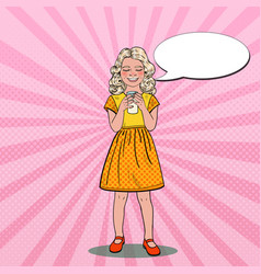 pop art smiling girl drinking milk healthy eating vector image vector image
