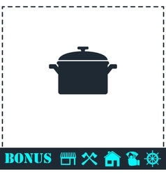 Pot icon flat vector image vector image