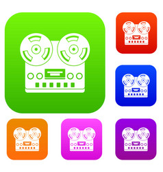 retro tape recorder set color collection vector image