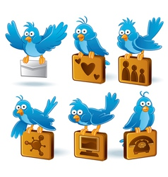 social media network bluebird vector image vector image