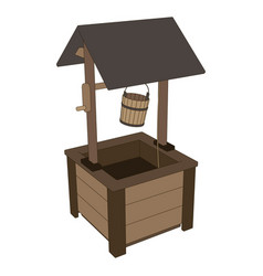 well water wooden old icon roof bucket background vector image