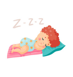 cute cartoon baby in a blue bodysuit sleeping in vector image vector image
