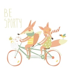 Cute couple foxes ride tandem bicycle vector image vector image