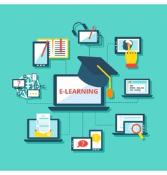 E-learning icons flat vector