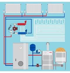 Energy-saving heating system Pellet boiler heating vector image