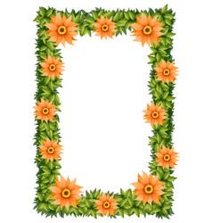 frame design with orange flowers vector image
