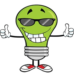 Light bulb cartoon with thumbs up vector image vector image