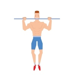 Man doing physical exercises pulling Hanging on vector image