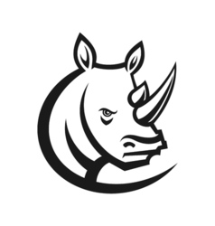 Rhinos head logo for sport club or team Animal vector image