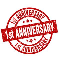 1st anniversary round red grunge stamp vector