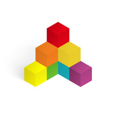 3d color cubes vector