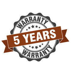 5 years warranty stamp sign seal vector image
