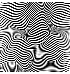 Abstract black and white stripes waves background vector image