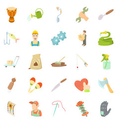 Artisanal icons set cartoon style vector