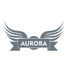 Aurora wing logo simple gray style vector