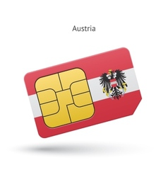 Austria mobile phone sim card with flag vector