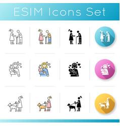 Babysitting services icons set elder person vector