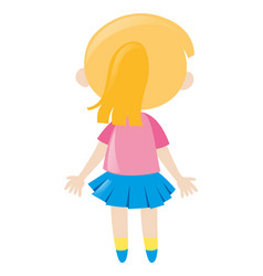 Back of little girl in pink shirt vector