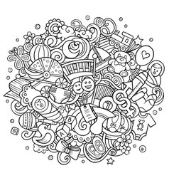 bahand drawn cartoon doodles vector image