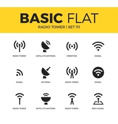 Basic set radio tower icons vector